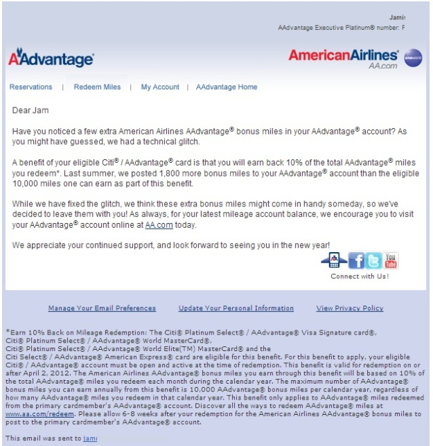 American Airlines Technical Glitch E-mail to Citi AA Cardholders