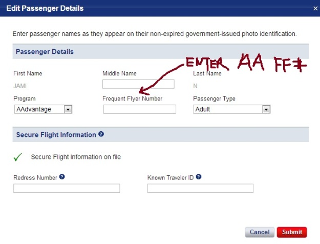 Enter your American Airlines AAdvantage Number
