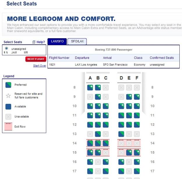 You can choose preferred seating if you are an Elite on American Airlines