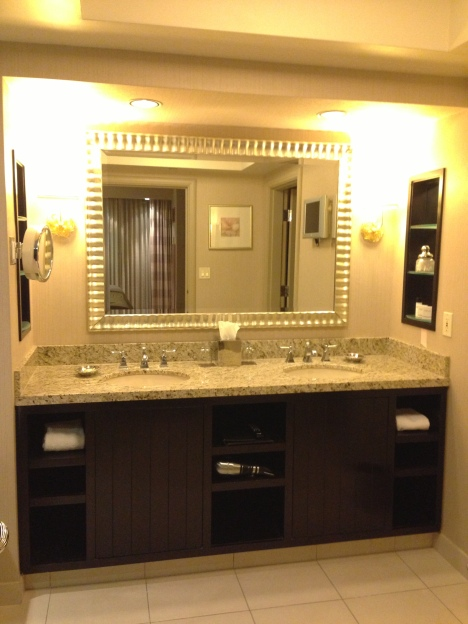 Granite countertop w/ a his and hers sink