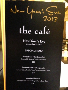 The Cafe's New Year's Eve specials
