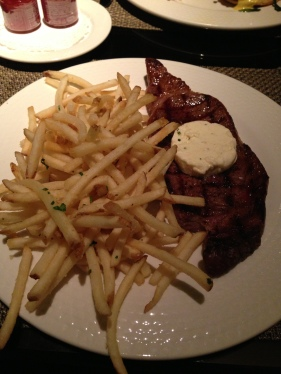 steak frites,  prime flat iron, marrow butter, truffle fries